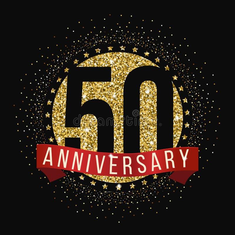 50 годовщины лет логотипа торжества пятидесятый логотип годовщины иллюстрация вектора