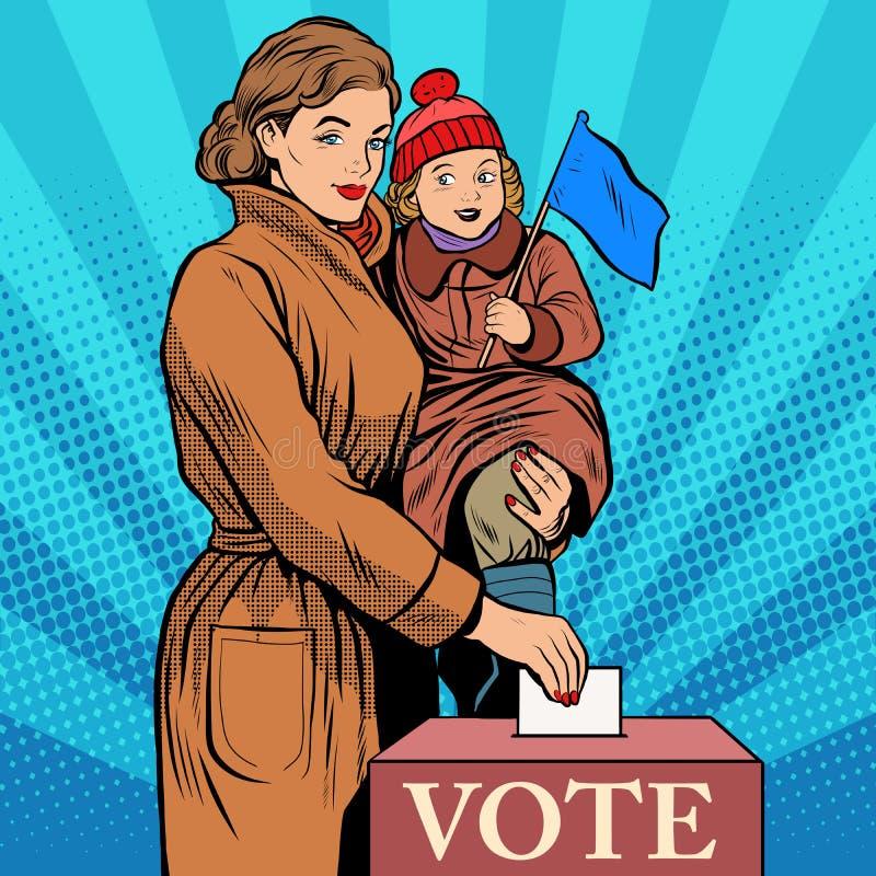 Голосование женщин матери и ребенка в избраниях иллюстрация штока