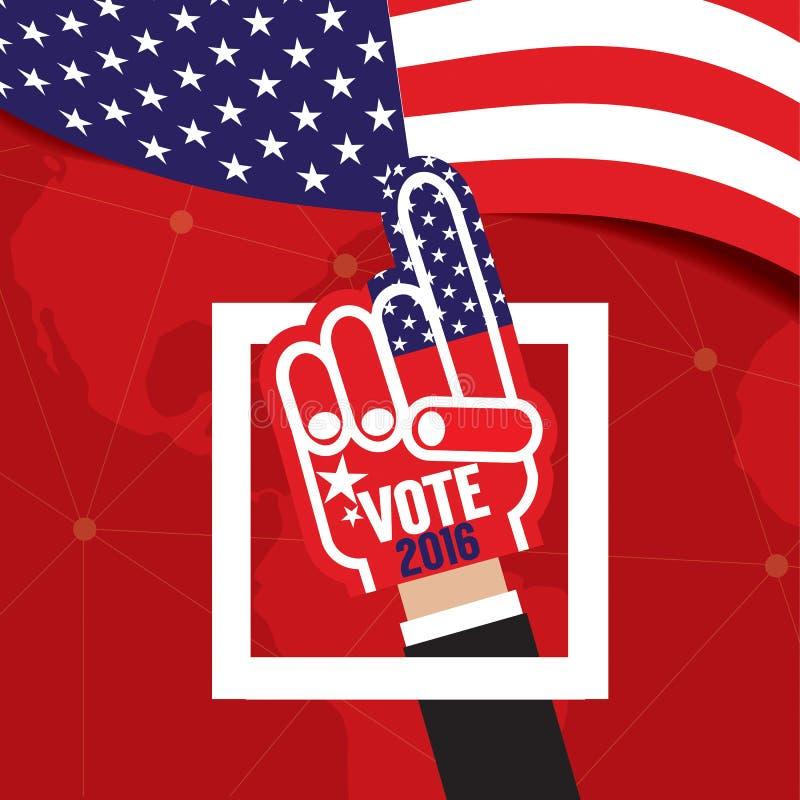 Голосование 2016 пены руки иллюстрация вектора