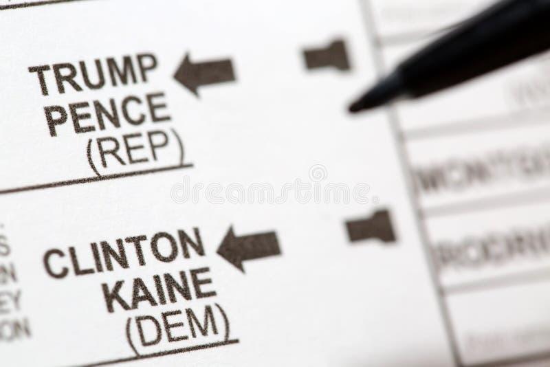 Голосование для водить кандидаты в президенты США на голосовании стоковое фото rf