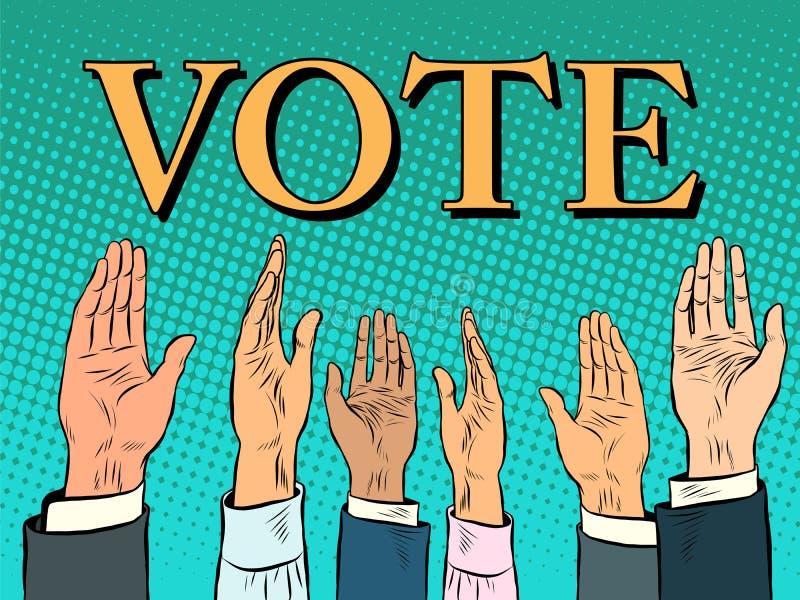 Голосуя рука выбирает вверх голос поддержки иллюстрация вектора