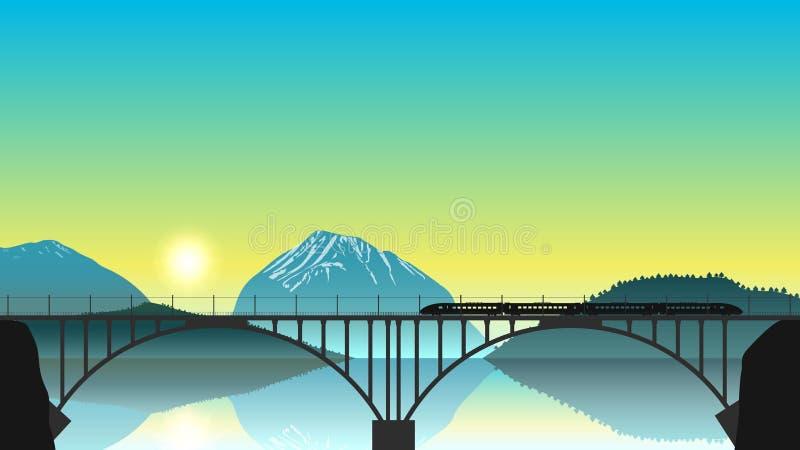 Голодает срочный локомотив при 4 фуры двигая вдоль железнодорожного моста Иллюстрация концепции транспорта дизайна вектора плоско иллюстрация штока