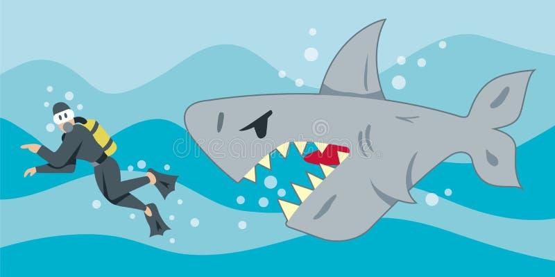 голодная акула иллюстрация штока