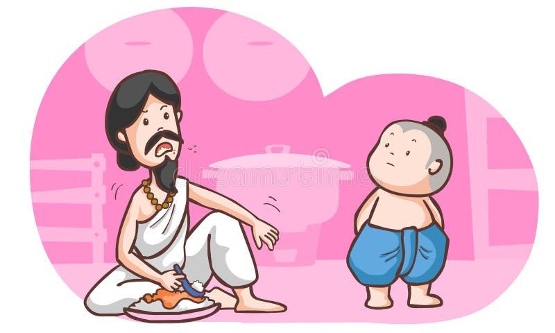 Голодная беседа Брахмана к традиционному мальчику иллюстрация штока