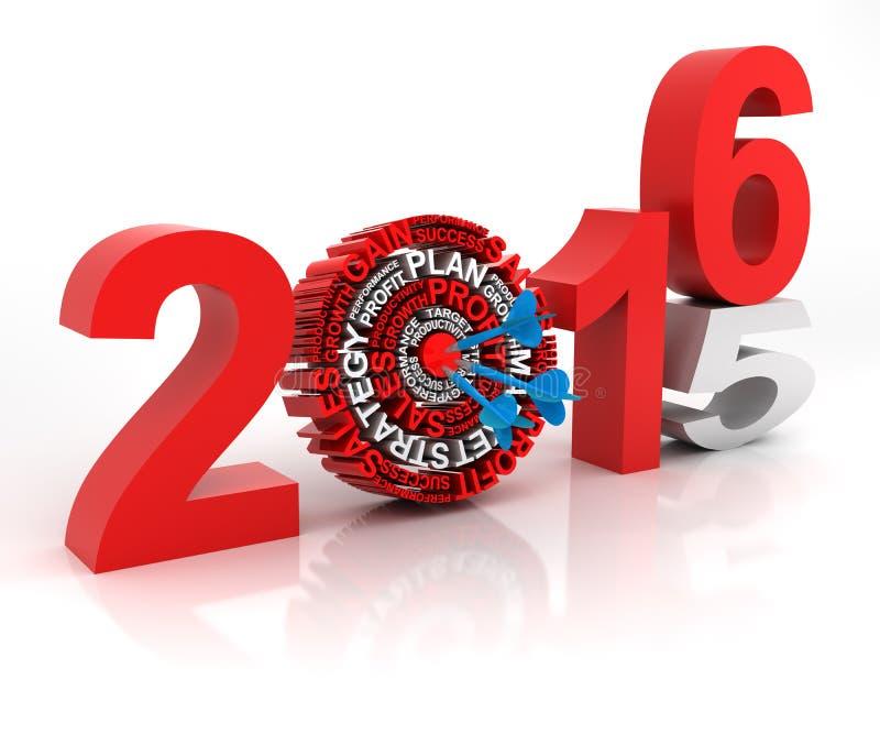 Год 2015 до 2016 цель дела, 3d представляет иллюстрация штока
