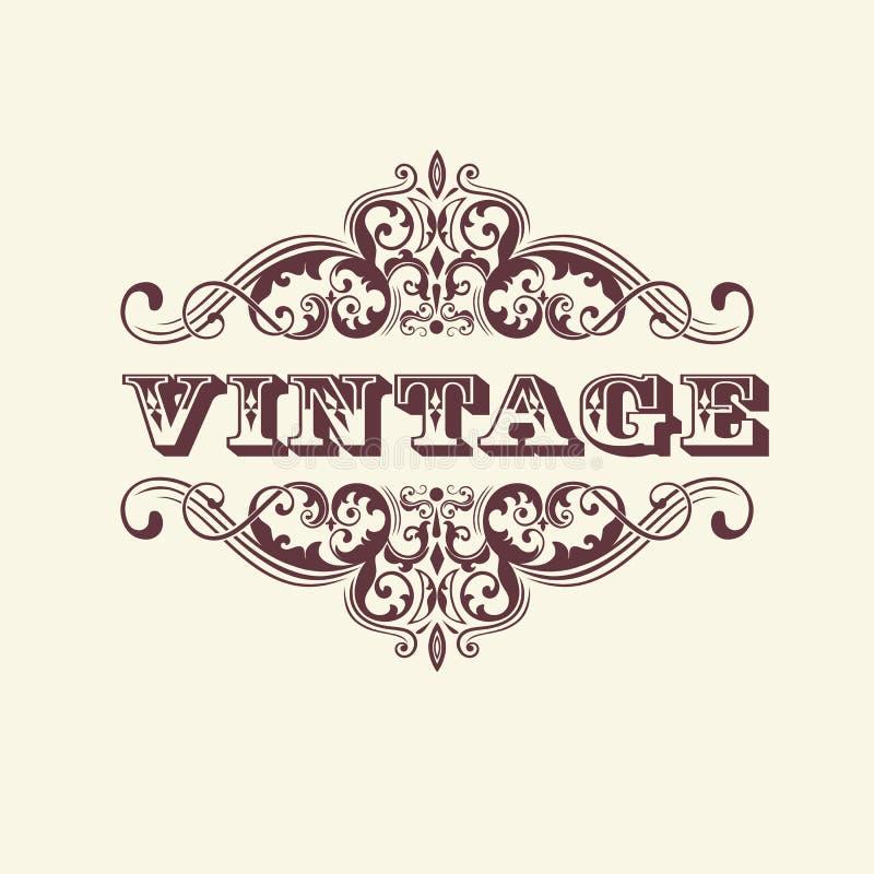 Год сбора винограда ввел знак в моду С флористическими элементами Элегантный элемент для дизайна карточки приглашения иллюстрация вектора