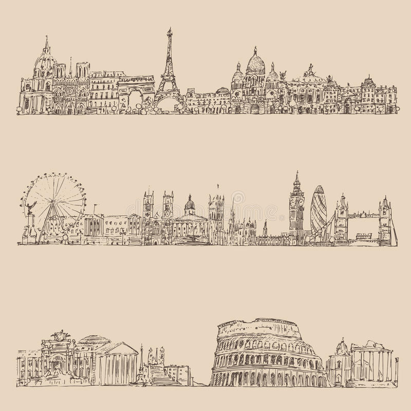 год сбора винограда города установленный (Лондон, Париж, Рим) выгравировал иллюстрацию, нарисованную руку