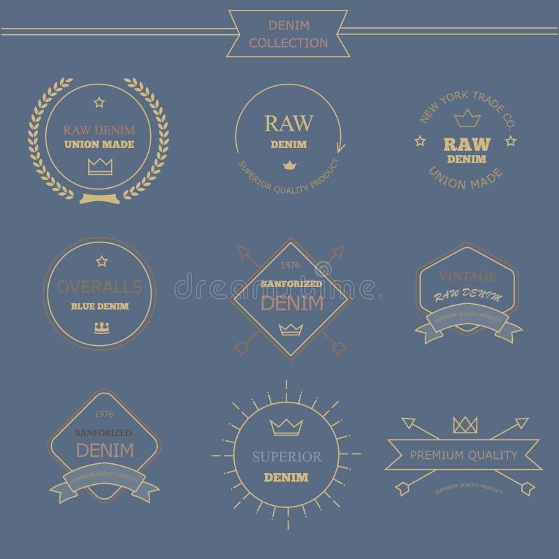 Год сбора винограда обозначает оформление джинсовой ткани, графики футболки иллюстрация вектора