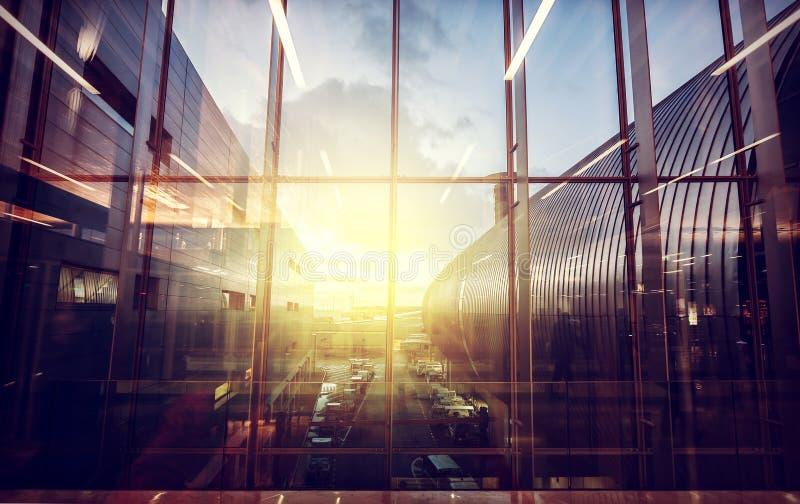Год сбора винограда фильтровал изображение авиапорта, транспорта и дела стоковые изображения rf