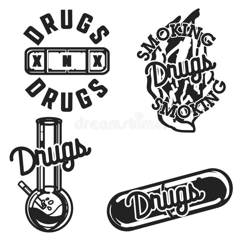 Год сбора винограда цвета дает наркотики эмблемам иллюстрация вектора