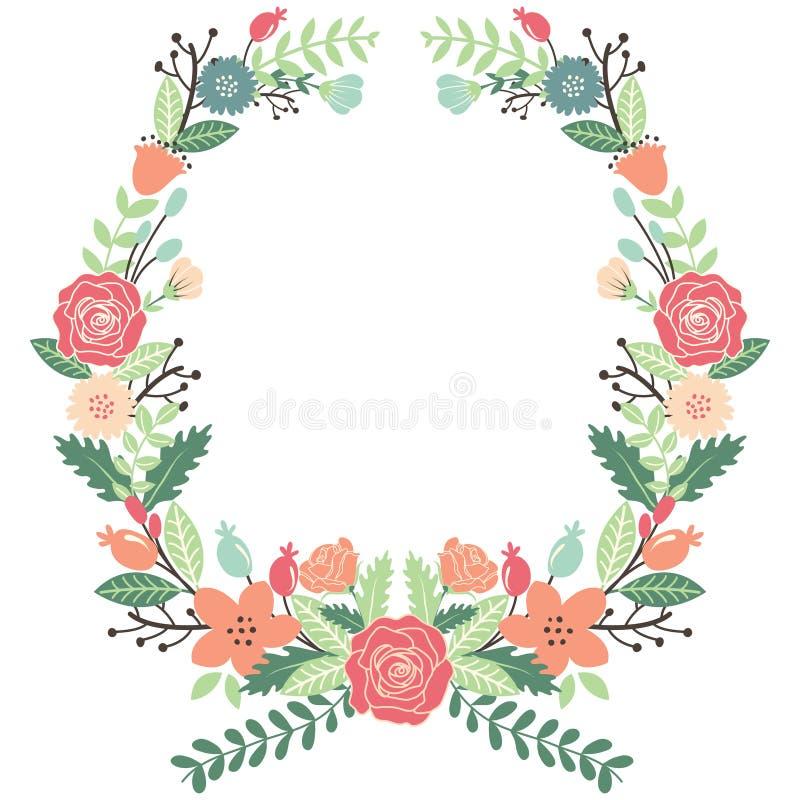 Год сбора винограда цветет венок иллюстрация вектора