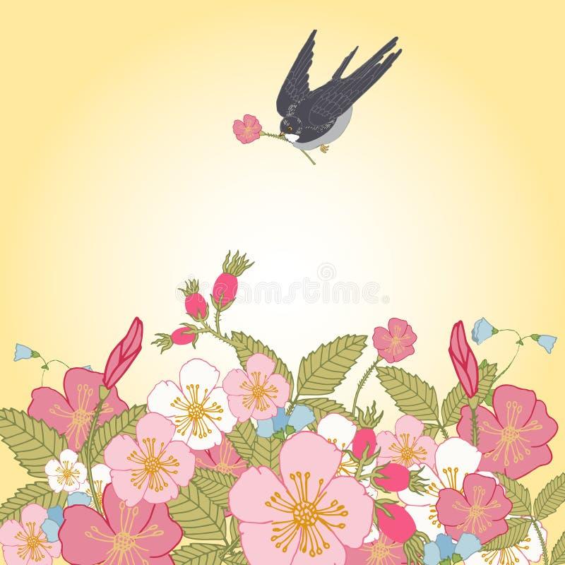 Год сбора винограда цветет предпосылка с птицей бесплатная иллюстрация