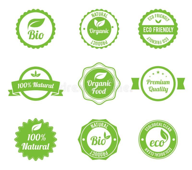 Год сбора винограда Eco обозначает био комплект шаблона иллюстрация вектора