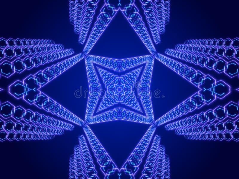 Голубая абстрактная предпосылка, калейдоскоп иллюстрация штока
