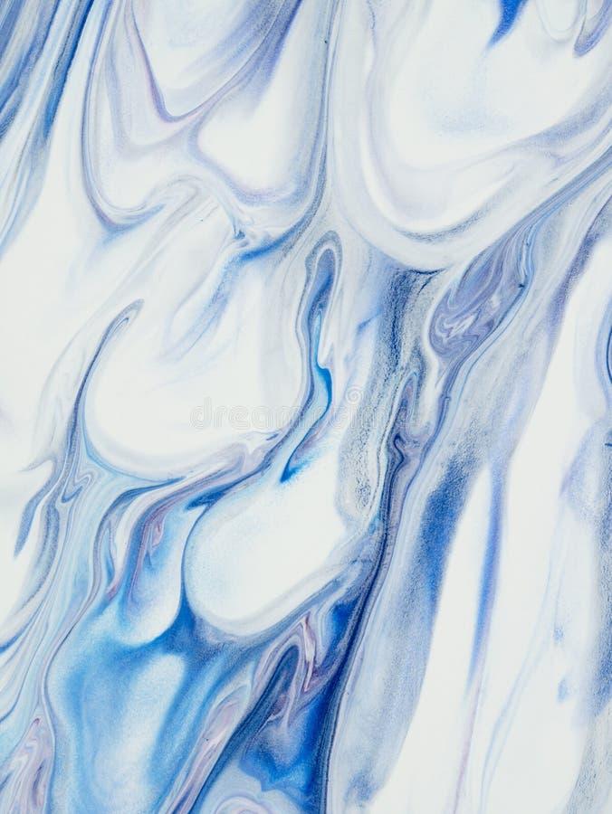 Голубая абстрактная рука покрасила предпосылку, акрил на canva стоковая фотография rf