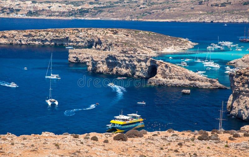Голубая лагуна на Comino - Мальте стоковое изображение