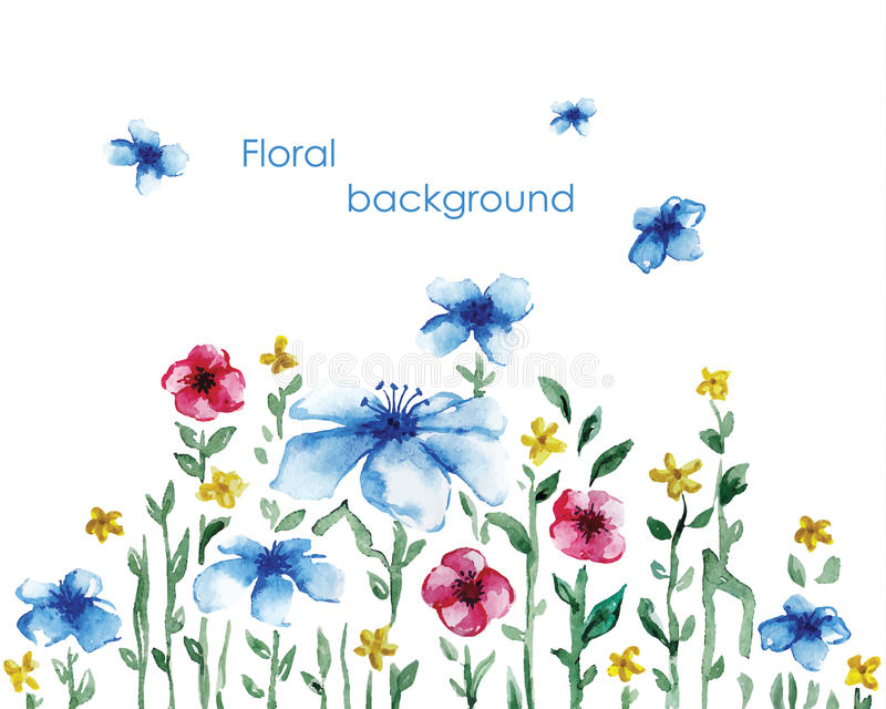 Голубая акварель луга одуванчика поля чащ иллюстрация штока