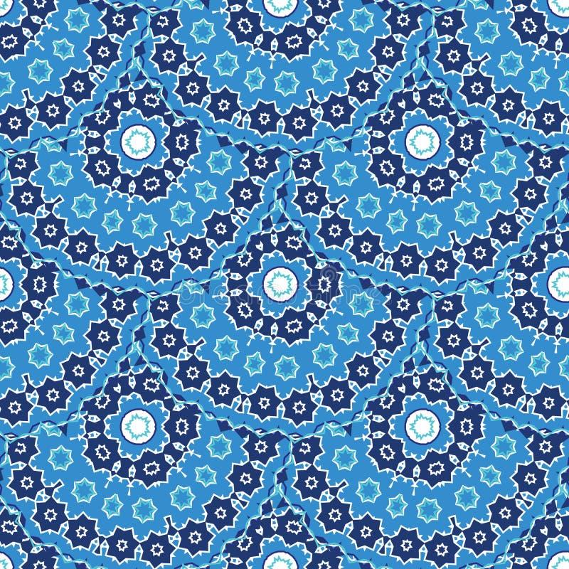 Голубая арабская безшовная картина иллюстрация штока