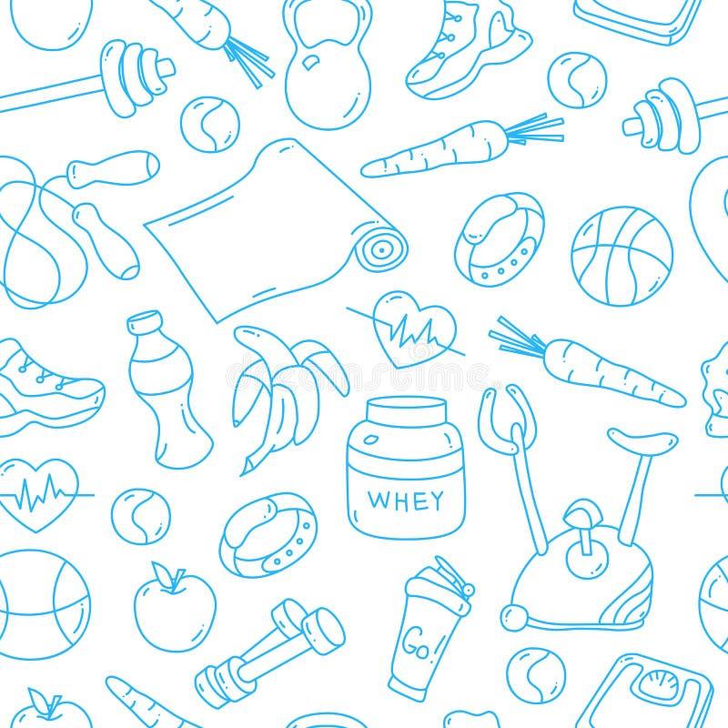 Голубая безшовная картина с doodles фитнеса бесплатная иллюстрация