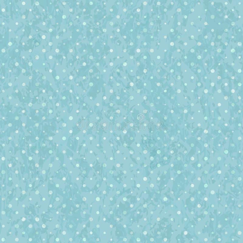 Голубая безшовная картина точки польки старая иллюстрация вектора