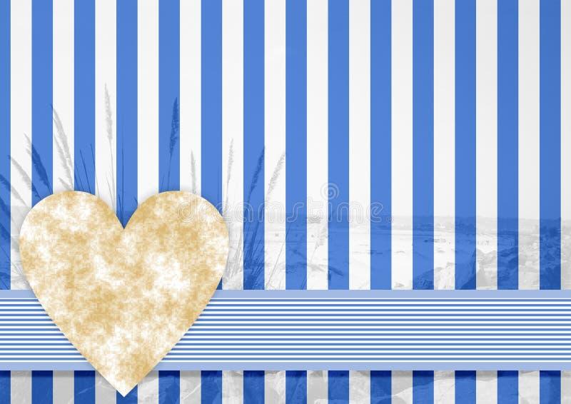 Голубая белая картина нашивки с каменным сердцем иллюстрация вектора