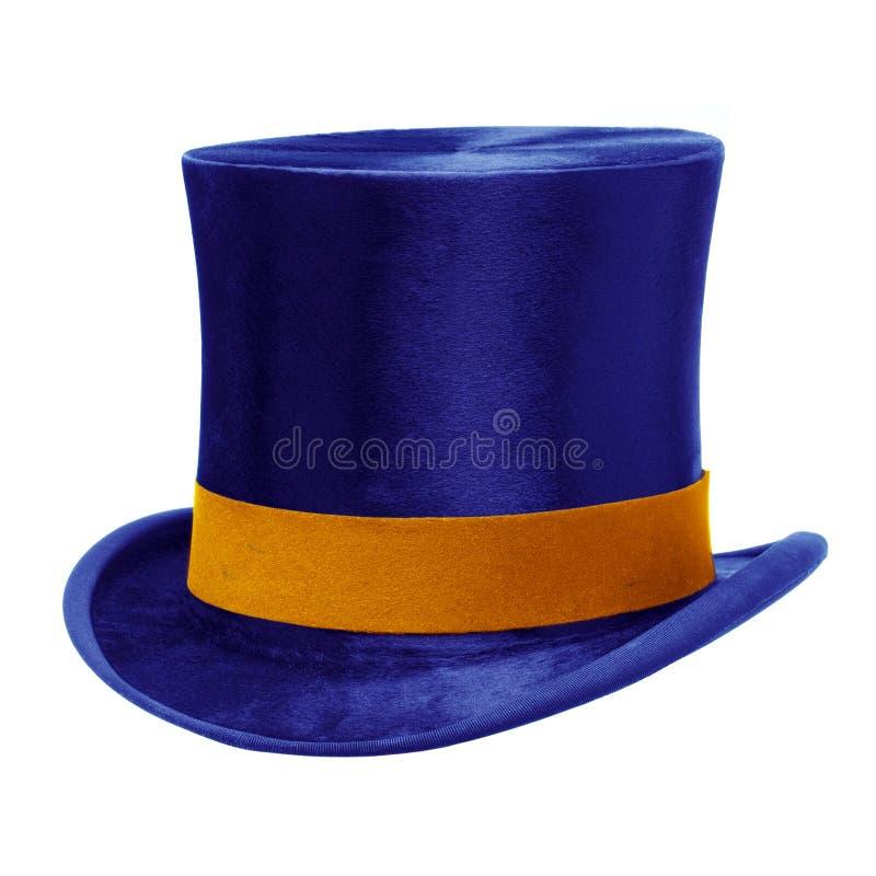 Голубая верхняя шляпа против белизны стоковое фото rf