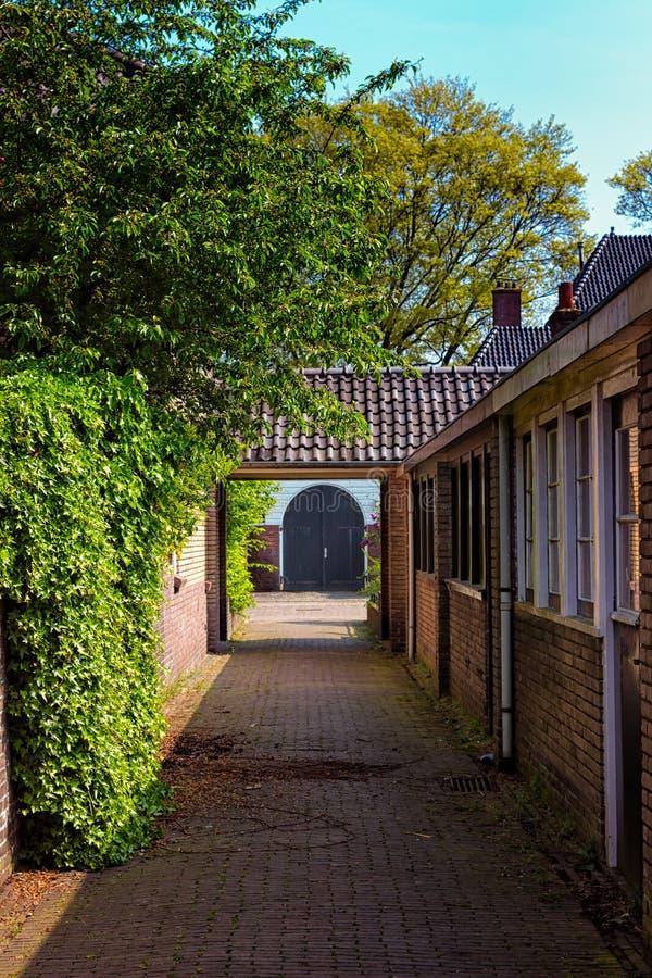 Голубая дверь в конце коридора стоковые изображения