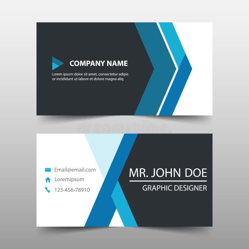 Голубая визитная карточка корпоративного бизнеса, шаблон карточки имени, горизонтальный простой чистый шаблон дизайна плана, бесплатная иллюстрация