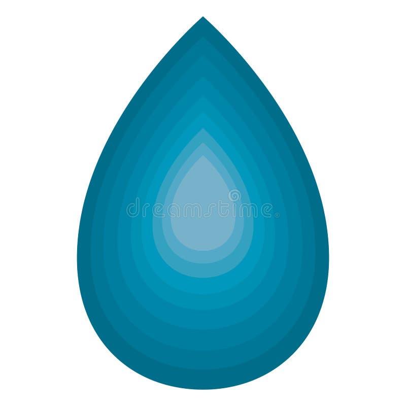Голубая вода падения изолированная на белизне иллюстрация вектора