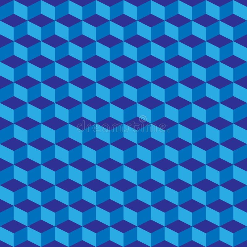 Голубая геометрическая безшовная предпосылка картины кубов вектор бесплатная иллюстрация