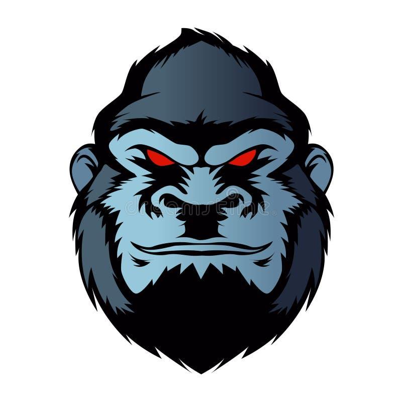 Голубая голова гориллы иллюстрация вектора