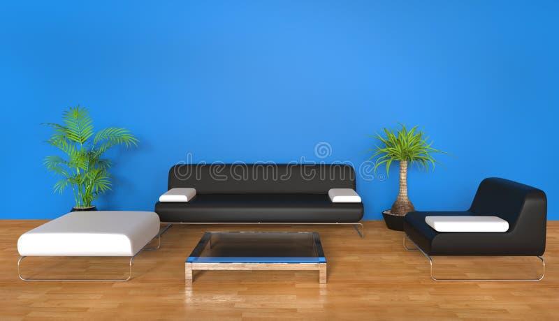 голубая живущая комната бесплатная иллюстрация
