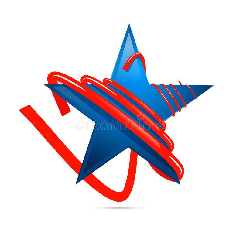 Голубая звезда 3D с красной прокладкой, лентой иллюстрация штока