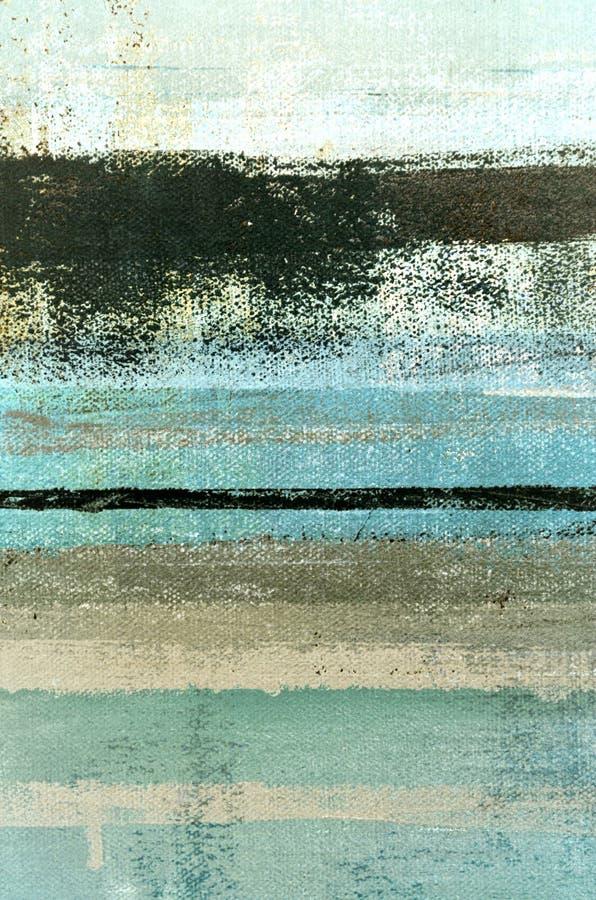 Голубая и бежевая картина абстрактного искусства стоковое изображение