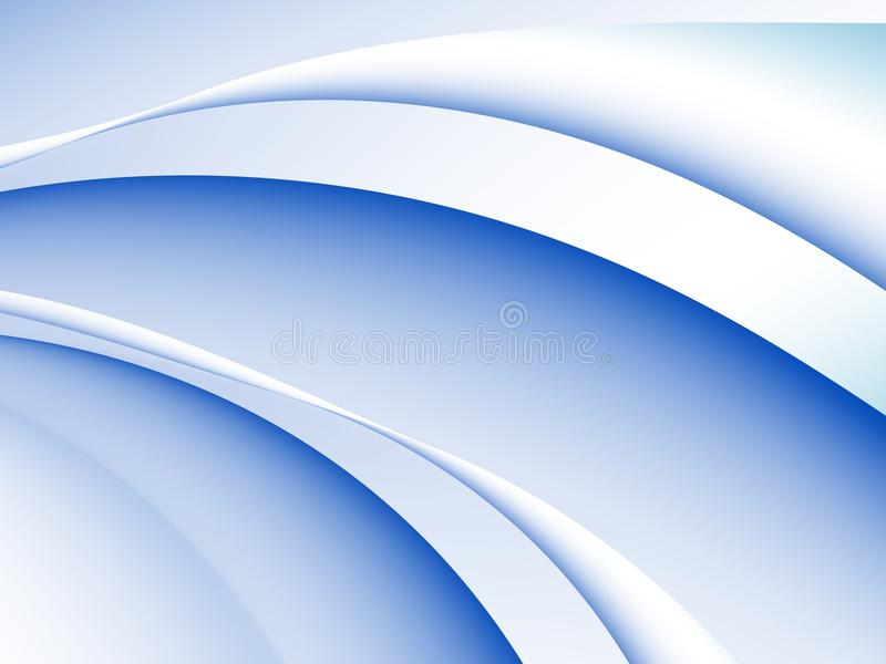 Голубая и белая абстрактная предпосылка фрактали с кривыми и волнами в динамическом движении иллюстрация вектора