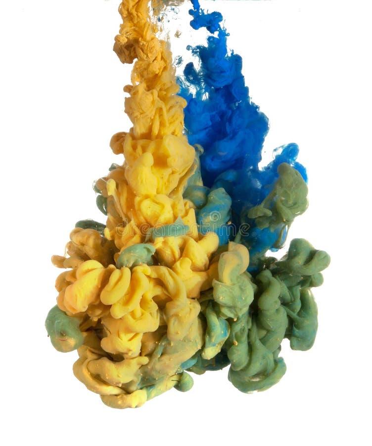 Голубая и желтая краска стоковое фото