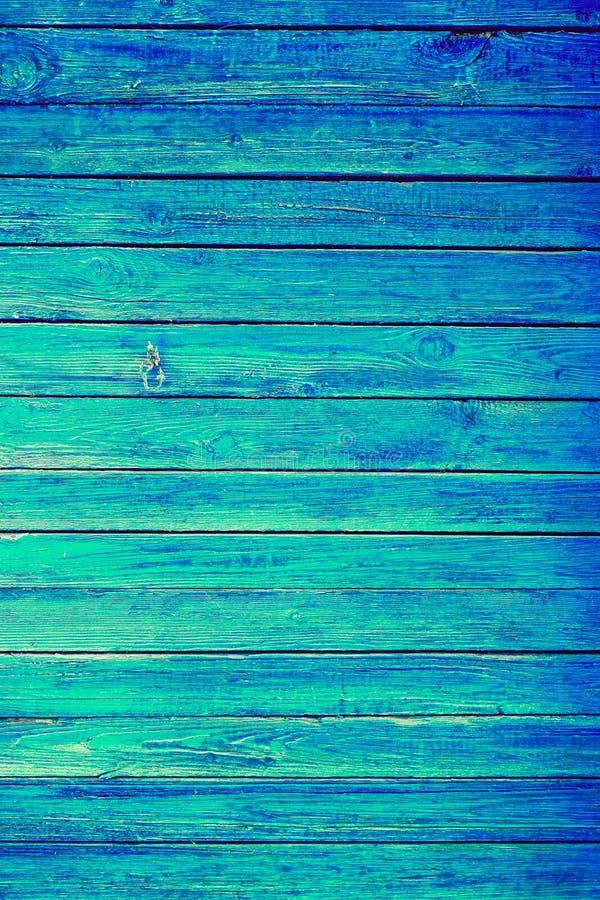 Голубая или лазурная деревянная текстура вертикали планок стены Старая ретро деревянная деревенская затрапезная предпосылка Слезл стоковое фото
