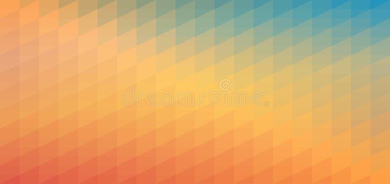 Голубая и оранжевая картина мозаики градиента Абстрактная геометрическая предпосылка для знамени, плаката, карточки, дизайна Веб- иллюстрация вектора