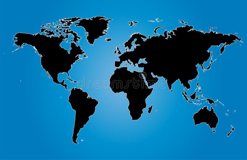Голубая иллюстрация карт мира с границами страны иллюстрация вектора