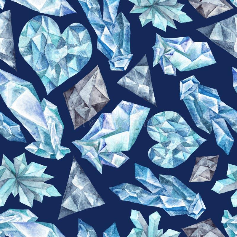 Голубая картина акварели самоцветов иллюстрация штока