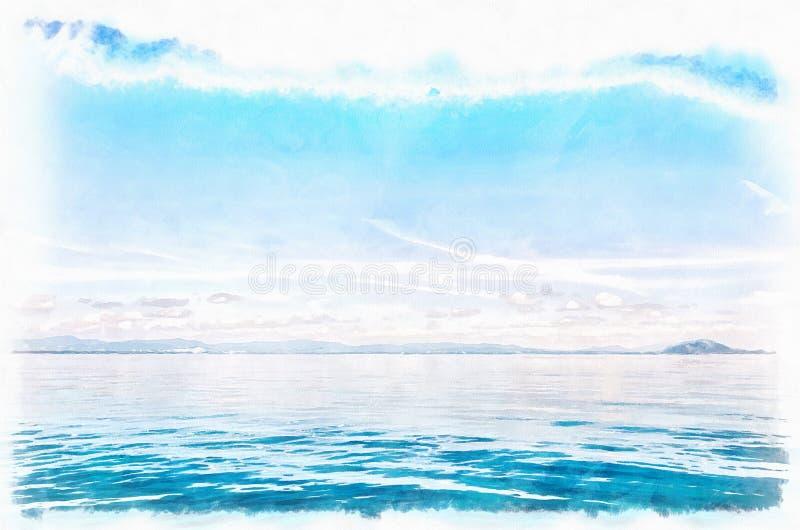 Голубая картина акварели цифров горизонта стоковые изображения
