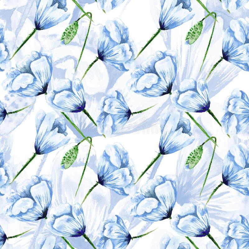 Голубая картина мака акварели иллюстрация вектора