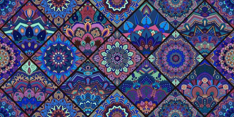 Голубая картина мандалы плитки иллюстрация штока