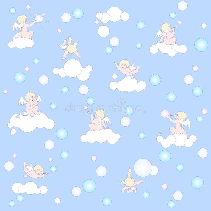 Голубая картина с ангелами, облаками и пузырями бесплатная иллюстрация