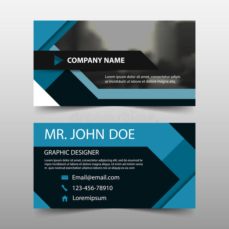 Голубая квадратная визитная карточка корпоративного бизнеса, шаблон карточки имени, горизонтальный простой чистый шаблон дизайна  иллюстрация штока