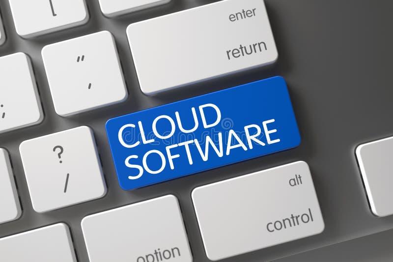 Голубая кнопка программного обеспечения облака на клавиатуре 3d бесплатная иллюстрация