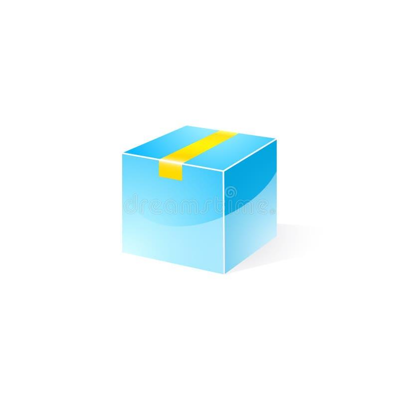 Голубая коробка поставки лоска с желтой лентой иллюстрация штока