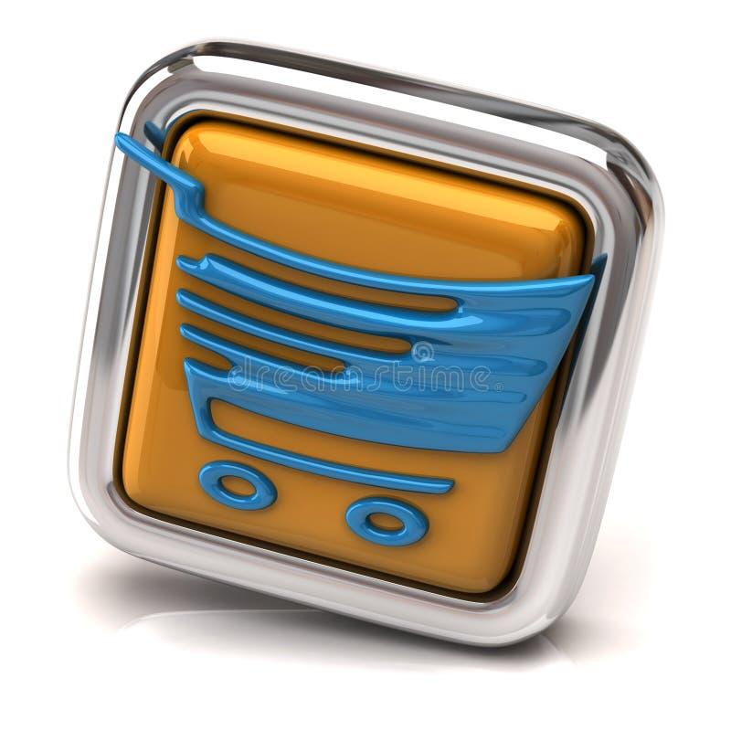 Голубая магазинная тележкаа на оранжевой кнопке иллюстрация вектора