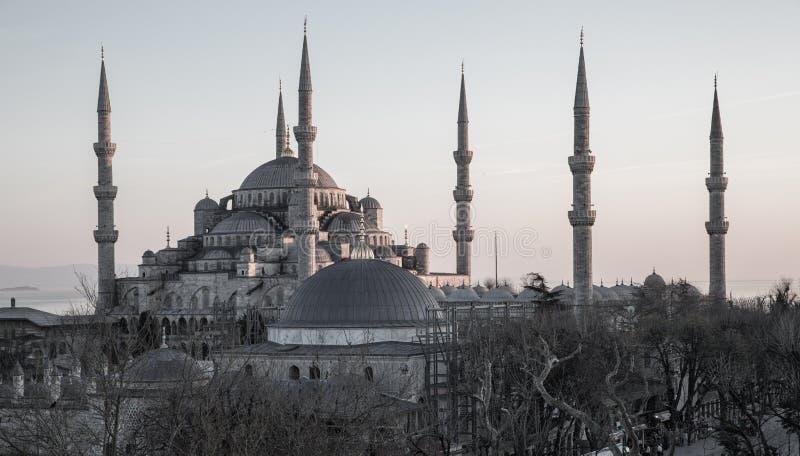 Голубая мечеть на сером цвете на сумраке, Стамбул, Турция стоковые фото