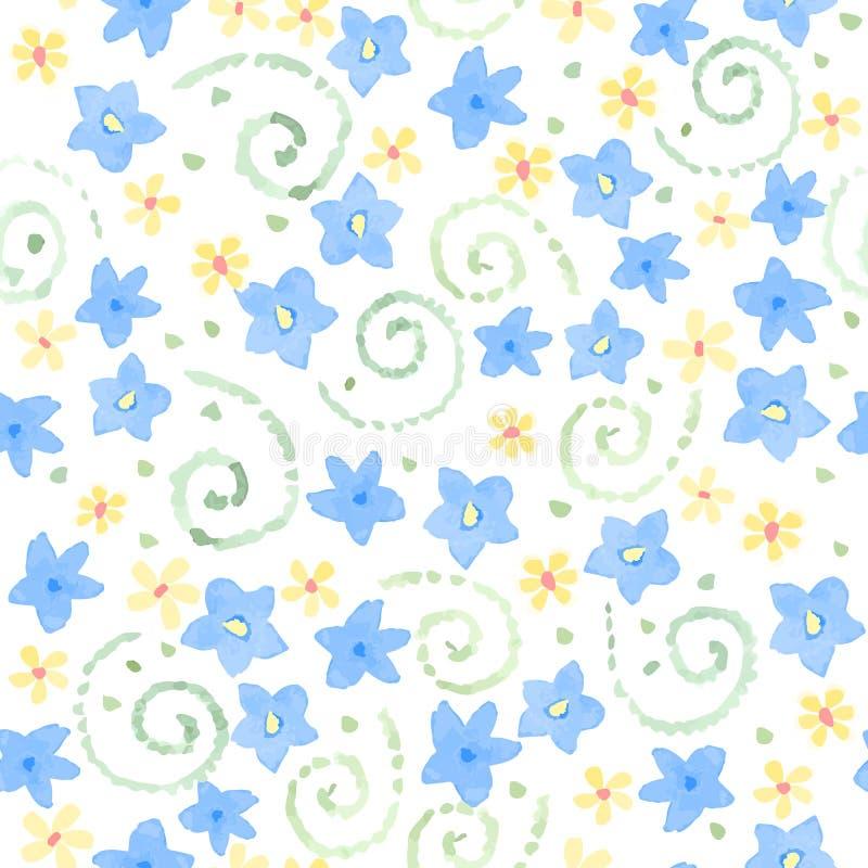Голубая милая акварель цветет безшовная картина иллюстрация штока